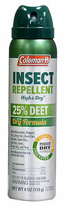 Coleman 25% DEET Dry Formula Insect Repellent 4-Ounce 113 g Aerosol Spray 7514