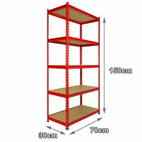 5 Tier Heavy Duty Storage Racking Red Shelving Boltless Garage 150 x 70 x 30 cm