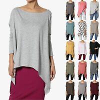 TheMogan Oversized Asymmetric Draped Hem Long Sleeve Soft Jersey Knit Poncho Top