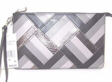 Michael Kors Marquertry patchwork Daniela Black Leather Large Wristlet NWT $168