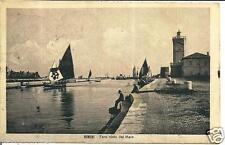 em 025 1923 - Rimini Faro visto dal mare - barche - viaggiata. Formato piccolo.