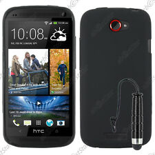 Housse Etui Coque Souple Silicone Gel Noir HTC One S + Mini Stylet