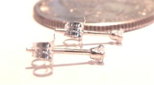 14kt Pure WHITE GOLD SMALL 2MM Cubic Zirconia Screw Back Stud Earring 14kt Backs