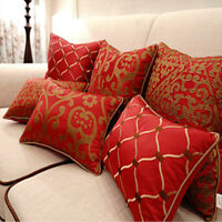 Red Throw Pillows Funda de cojín bordado Funda de almohada textil para el hogar