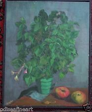SMYTHE Vintage STILL LIFE PLANT w APPLES Painting Signed