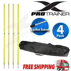 4x Spike Agility Slalom Training Poles With Turf Base 2 Section Fluorescent Yell