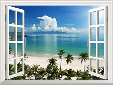 "White Beach with Blue Sea and Palm Tree Open Window Mural Wall Sticker - 36""x48"""