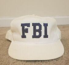 Vintage 90s Federal Bureau of Investigation FBI Snapback Hat Blue White Big Logo
