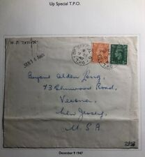 1947 Up Special England Cover Traveling Post Office Tpo To Verona Nj Usa