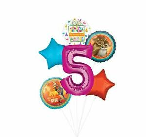 Lion King Party Supplies 5th Birthday Balloon Bouquet Decorations - Pink Numb...