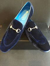 1840abe67a2a6 NEW CARRUCCI Navy Blue Loafer Men's Dress Velvet & Suede Leather Shoes ...