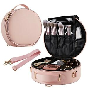 Round Makeup Bag Portable Travel Makeup Train Case PU Leather Cosmetic Storag...