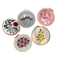 Full Range of Embroidery Stamped Kits 6.5in Embroidery Hoop Flower Pattern