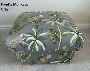 Fryetts Monkeys Grey Fabric Footstool Pouffe Footstall Jungle Safari Ape Nursery