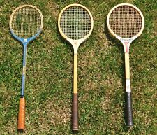 Lot ~ Vintage Wood Squash Racquets ~ Manta 65 • Bancroft Court King • Spalding