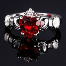 Silver Plated Claddagh Heart Ring With Red Cubic Zirconia Various Sizes
