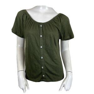 Primark Ladies Khaki Green Crinkle Short Sleeve Gypsy Bardot Top UK Size 6-8