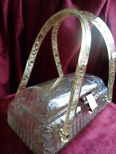 VINTAGE UNIQUE SHAPE LLEWELLYN PALE LIGHT GREEN LUCITE WITH GOLD THREADS PURSE!!