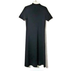 Deane & White Sweater Dress Small Short Sleeve Mock Turtleneck Wool Blend Maxi