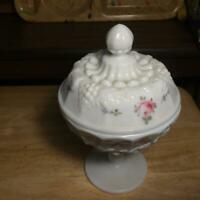 Vintage Westmoreland Rose Bows Grape Pattern Milk Glass Candy Dish Hand Painted