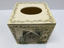 Ceramic Tissue Box Cover Hand Painted House Flower Garden Sayings