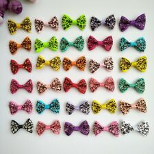 10pcs Leopard grain Bow Hair Alligator Clips Girls Ribbon Kids Sides accessories