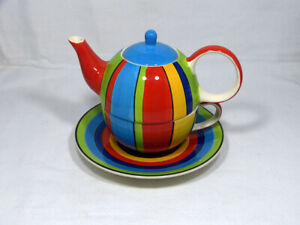 WHITTARD OF CHELSEA MULTI COLOURED TEA FOR ONE SET TEAPOT CUP SAUCER