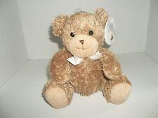 "prestige toy tan brown teddy bear plush rattle with tags 8"" tall"