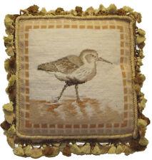 "14"" x 14"" Handmade Wool Needlepoint Petit Point Sea Bird Pillow with Tassels"