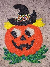 """Vintage Halloween Melted Popcorn 17"""" Pumpkin with Witch Hat"""