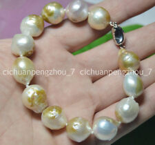 HUGE 14-16MM SOUTH SEA GENUINE COLOURFUL BAROQUE PEARL BRACELETS 8-8.5 INCHES AA