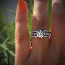 Fashion 925 Silver Jewelry White Topaz Women Wedding Proposal Ring Size 6