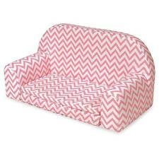 Badger Basket Upholstered Doll Sofa with Foldout Bed - Pink Chevron