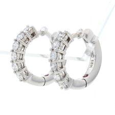 Roberto Coin Diamond Huggie Hoop Earrings - White Gold 18k Round .70ctw Pierced