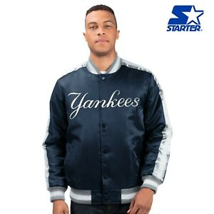 New York Yankees MLB Men's Starter O-LINE Button Up Satin Jacket - Navy