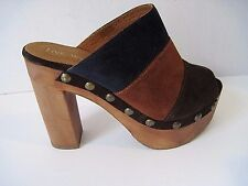 Boho Chic Five Worlds Open Toe Suede Clogs - Like Free People Size 37 1/2