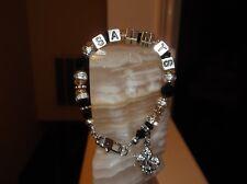 """WOMEN HANDMADE 7 1/4"""" 8 MM NEW ORLEANS SAINTS GLASS BEADED CHARM BRACELET"""