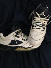 Nike Air Jordan 5 Retro Men's Basketball Shoes, Size 10.5 White/Blue/Gold