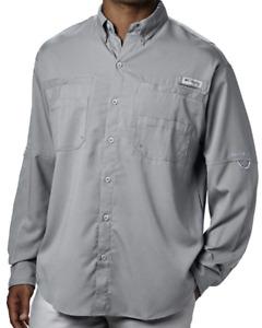 Columbia Mens Tamiami II Omni-Shade Long Sleeve Shirt Cool Grey 5XT