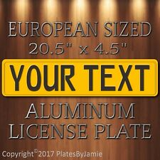 Yellow with Black Text EURO Sized Aluminum License Plate Tag New