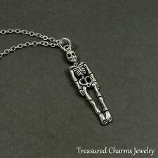 Silver Skeleton Necklace - Halloween Skull Bones Pendant Jewelry NEW