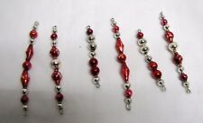 """Set Of 6 Vtg Red Silver Mercury Glass Bead Icicles 3"""" - 4.25"""" Long Lot"""