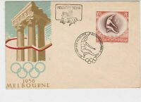 Poland 1958 Celebrating Melbourne Olympics RingsCancel FDC Stamp Cover Ref 23048