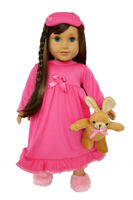 Pink Nightgown with Sleeping Mask for American Girl Dolls 18 Inch Doll Clothes