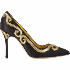 New Manolo Blahnik TRASPUESTO Black Satin Gold Shoes Pumps BB Heels 39 40