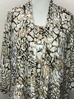 Alfred Dunner 1X Soft Ran White Layered Look 3/4 Sleeve Top Plus Size