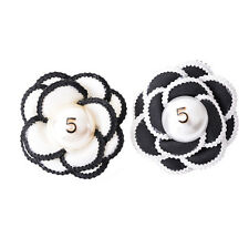 Women Black Cloth Camellia Flower Pearl No 5 Pin Brooch Scarf Clip Party Jewelry