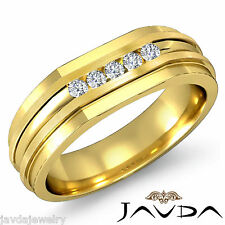 Channel Set Diamond Mens Half Wedding Band 14k Yellow Gold 7mm Solid Ring 0.15Ct