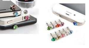 5 Chiusura Polvere Strass Diamante Presa Audio 3.5mm Per IPHONE Se