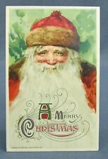 Antique Postcard Winsch Merry Christmas Victorian Smiling St Nicholas in Red&Fur